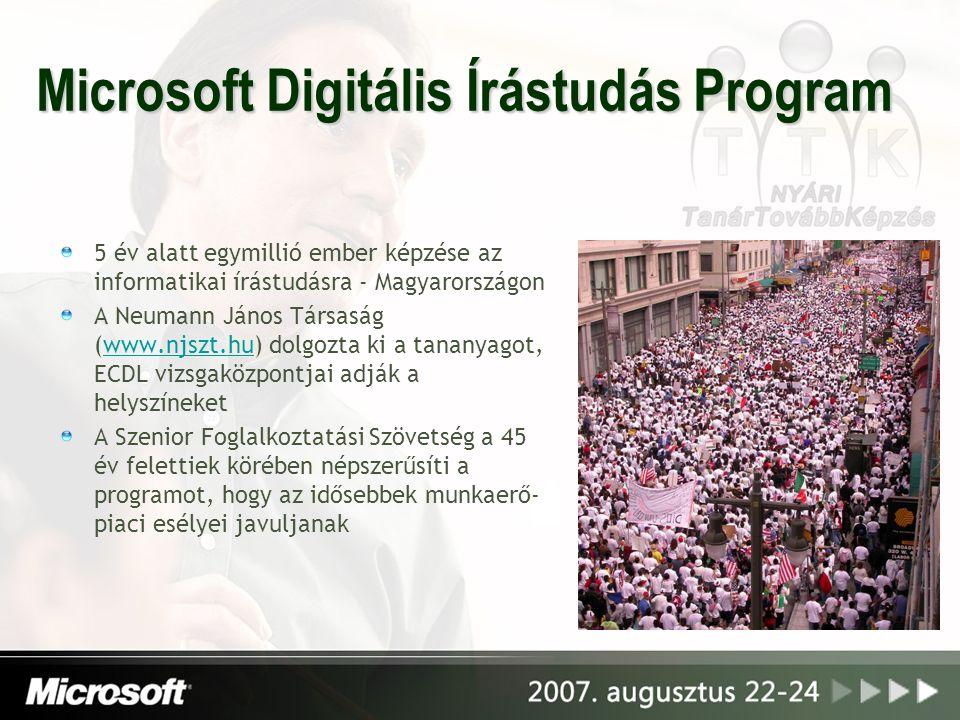 Microsoft Digitális Írástudás Program 5 év alatt egymillió ember képzése az informatikai írástudásra - Magyarországon A Neumann János Társaság (www.nj