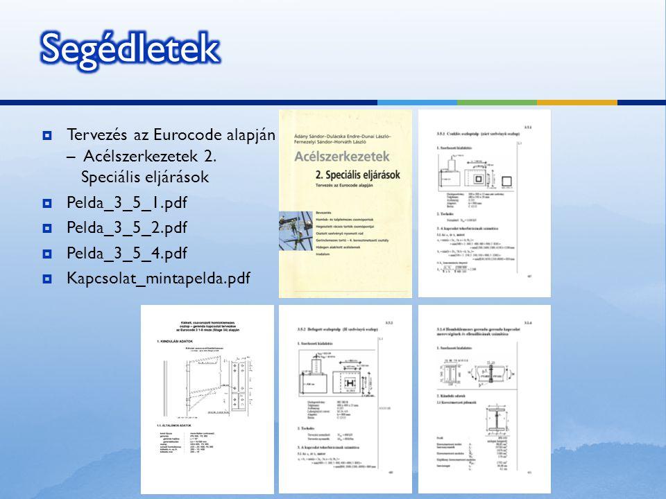  Tervezés az Eurocode alapján – Acélszerkezetek 2. Speciális eljárások  Pelda_3_5_1.pdf  Pelda_3_5_2.pdf  Pelda_3_5_4.pdf  Kapcsolat_mintapelda.p