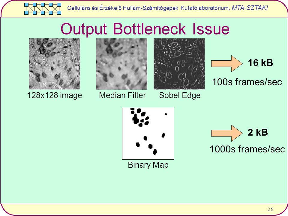 Celluláris és Érzékelő Hullám-Számítógépek Kutatólaboratórium, MTA-SZTAKI 26 128x128 imageMedian FilterSobel Edge 16 kB Binary Map 2 kB 100s frames/sec 1000s frames/sec Output Bottleneck Issue