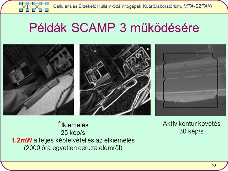 Celluláris és Érzékelő Hullám-Számítógépek Kutatólaboratórium, MTA-SZTAKI 28 Példák SCAMP 3 működésére Élkiemelés 25 kép/s 1.2mW a teljes képfelvétel és az élkiemelés (2000 óra egyetlen ceruza elemről) Aktív kontúr követés 30 kép/s