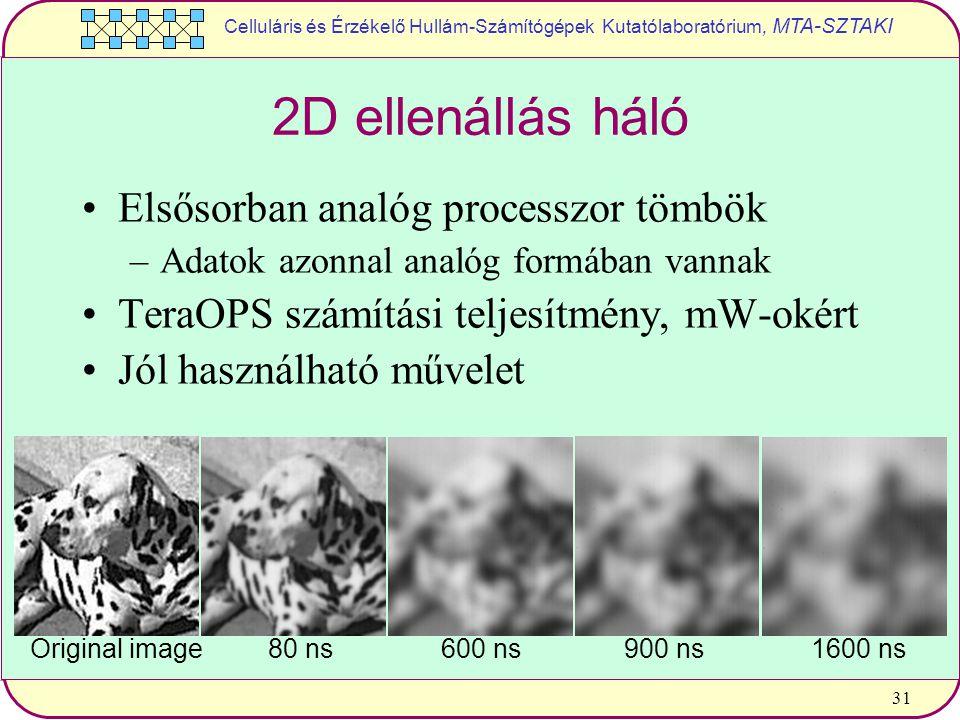 Celluláris és Érzékelő Hullám-Számítógépek Kutatólaboratórium, MTA-SZTAKI 31 2D ellenállás háló Elsősorban analóg processzor tömbök –Adatok azonnal analóg formában vannak TeraOPS számítási teljesítmény, mW-okért Jól használható művelet Original image 600 ns80 ns900 ns1600 ns