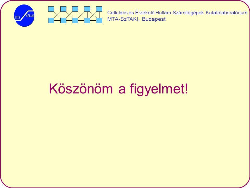 Celluláris és Érzékelő Hullám-Számítógépek Kutatólaboratórium MTA-SzTAKI, Budapest Köszönöm a figyelmet!
