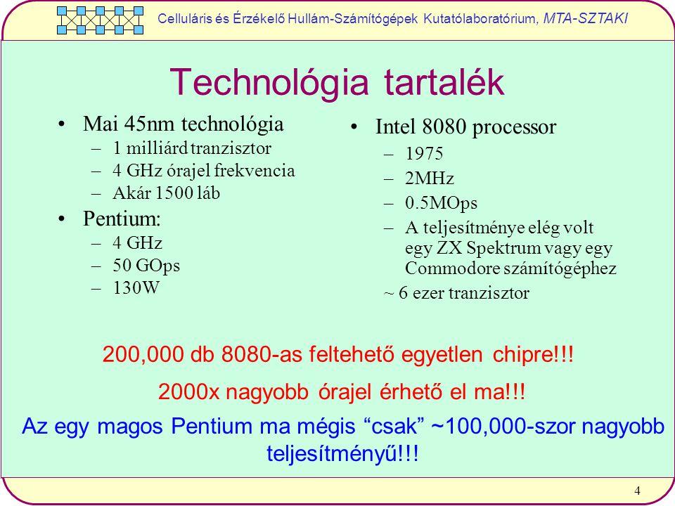 Celluláris és Érzékelő Hullám-Számítógépek Kutatólaboratórium, MTA-SZTAKI 4 Technológia tartalék Mai 45nm technológia –1 milliárd tranzisztor –4 GHz órajel frekvencia –Akár 1500 láb Pentium: –4 GHz –50 GOps –130W Intel 8080 processor –1975 –2MHz –0.5MOps –A teljesítménye elég volt egy ZX Spektrum vagy egy Commodore számítógéphez ~ 6 ezer tranzisztor 200,000 db 8080-as feltehető egyetlen chipre!!.
