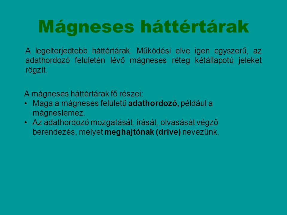 Mágneses háttértárak A mágneses háttértárak fő részei: Maga a mágneses felületű adathordozó, például a mágneslemez. Az adathordozó mozgatását, írását,