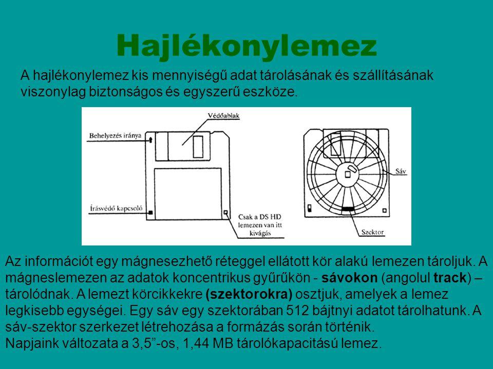 Hajlékonylemez Az információt egy mágnesezhető réteggel ellátott kör alakú lemezen tároljuk. A mágneslemezen az adatok koncentrikus gyűrűkön - sávokon