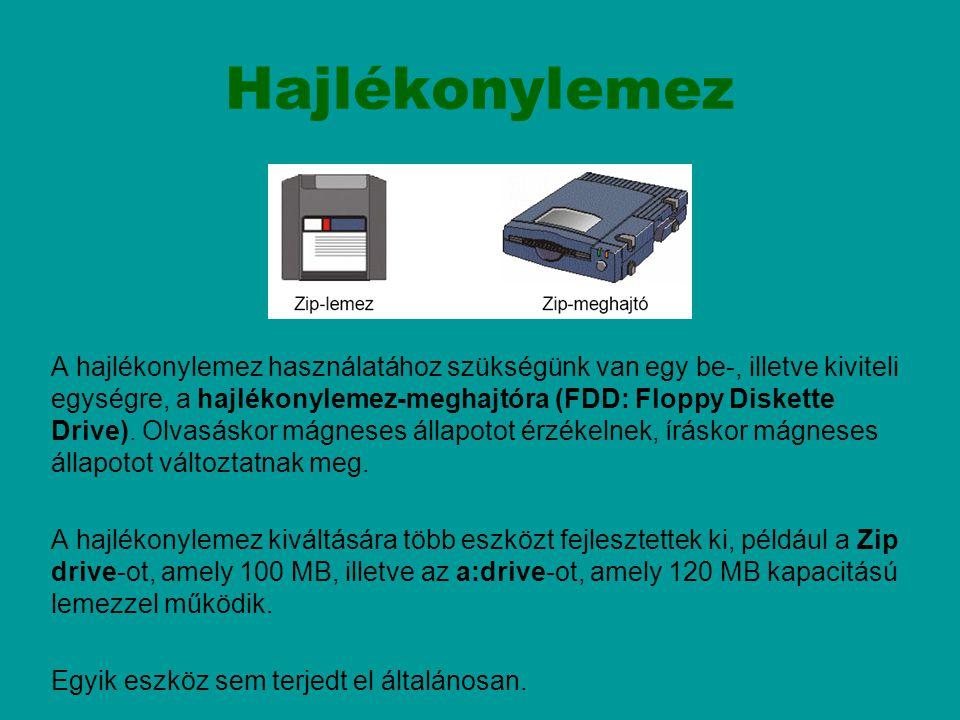 Hajlékonylemez A hajlékonylemez használatához szükségünk van egy be-, illetve kiviteli egységre, a hajlékonylemez-meghajtóra (FDD: Floppy Diskette Dri