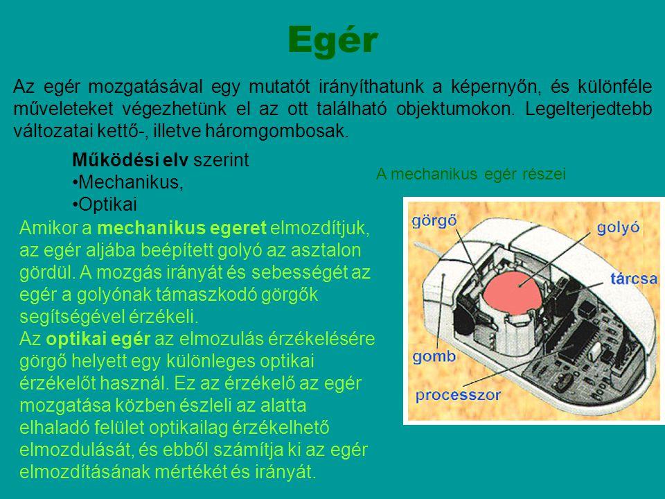 Hanyattegér A hanyattegér (trackball) a hagyományos mechanikus egér megfordításával jött létre.