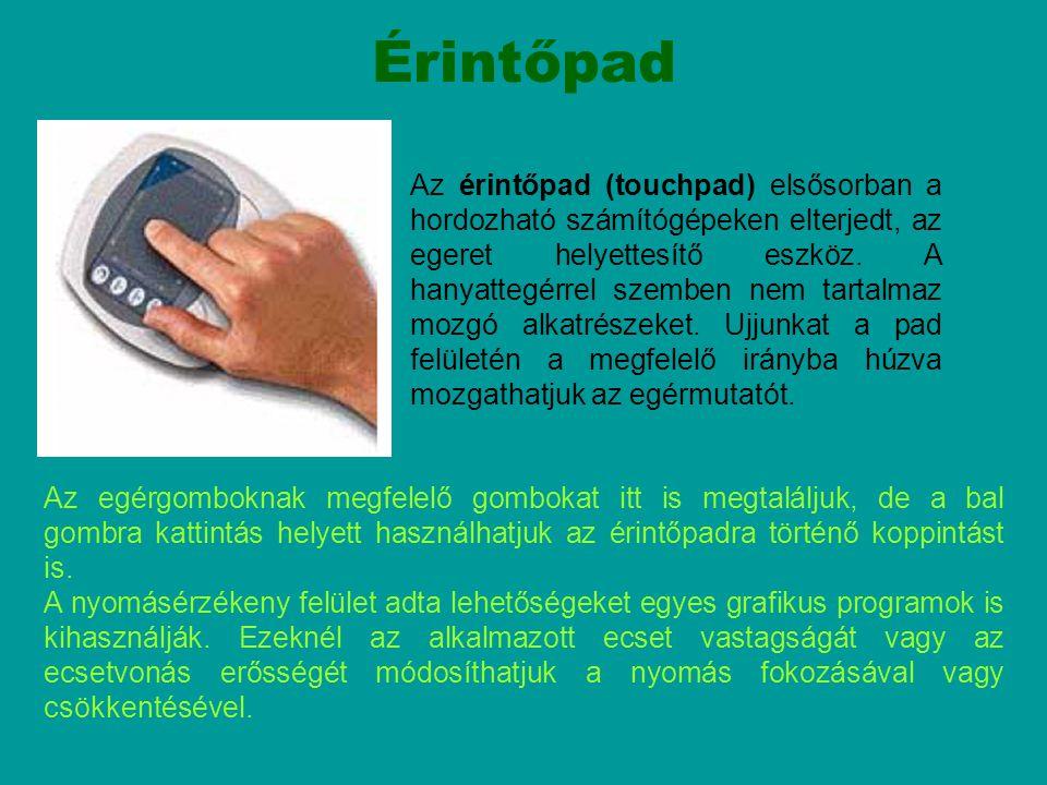 Az érintőpad (touchpad) elsősorban a hordozható számítógépeken elterjedt, az egeret helyettesítő eszköz. A hanyattegérrel szemben nem tartalmaz mozgó