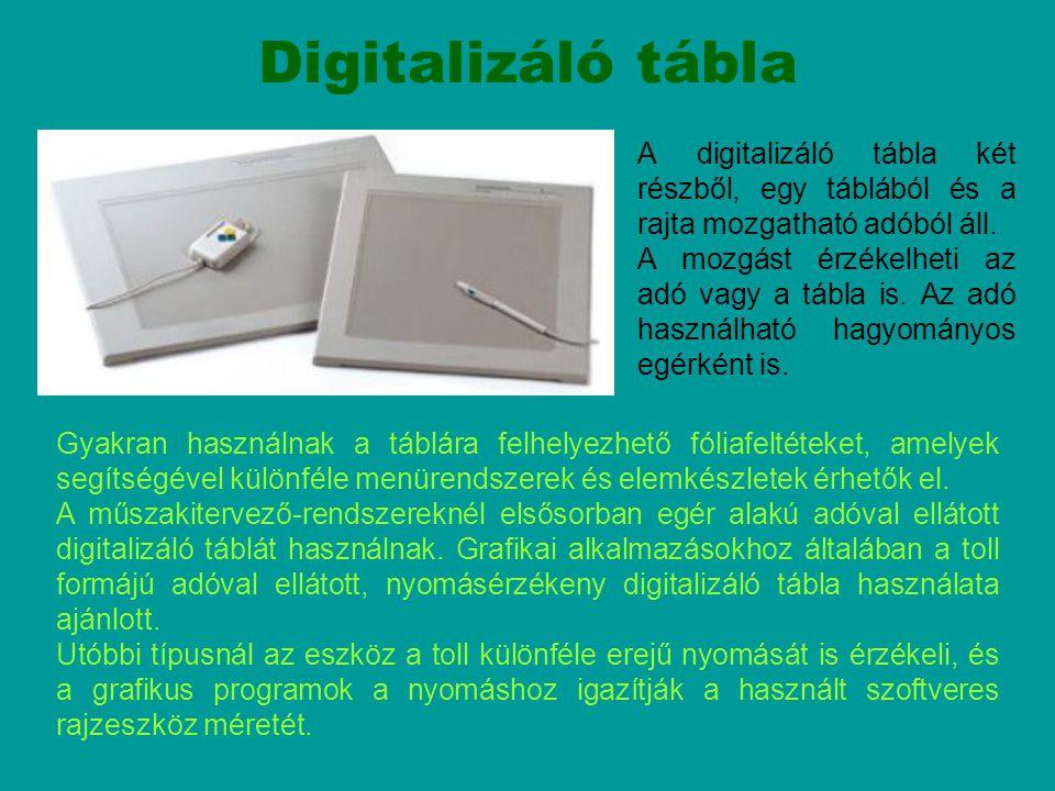 Digitalizáló tábla Gyakran használnak a táblára felhelyezhető fóliafeltéteket, amelyek segítségével különféle menürendszerek és elemkészletek érhetők