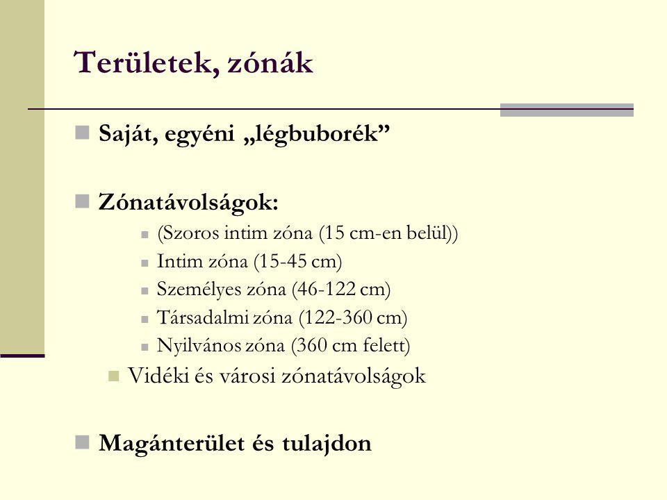 """Területek, zónák Saját, egyéni """"légbuborék"""" Zónatávolságok: (Szoros intim zóna (15 cm-en belül)) Intim zóna (15-45 cm) Személyes zóna (46-122 cm) Társ"""