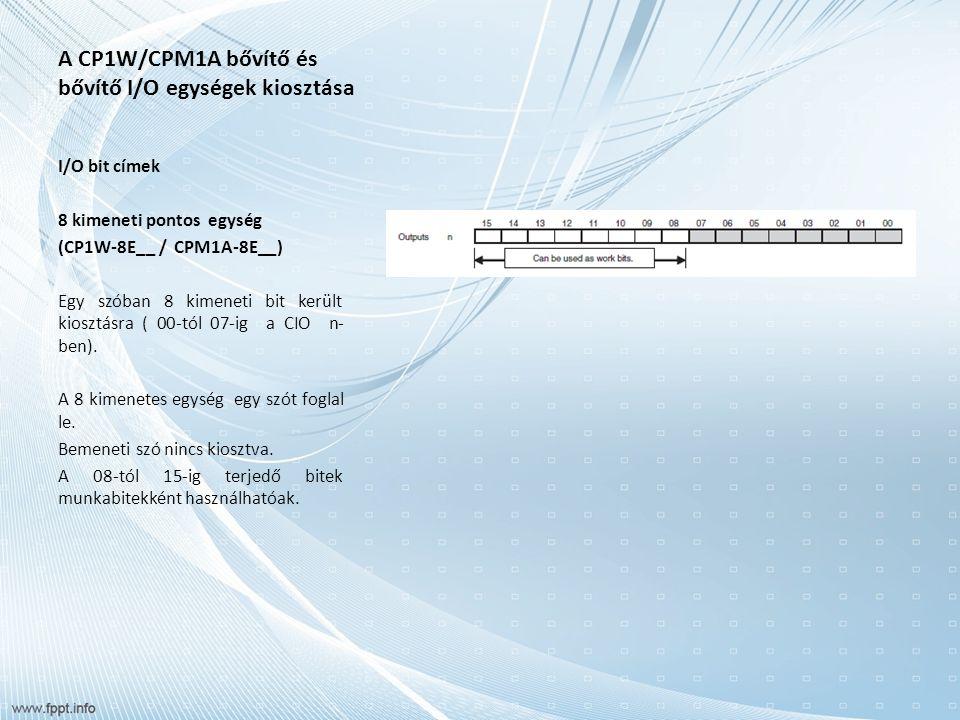 A CP1W/CPM1A bővítő és bővítő I/O egységek kiosztása I/O bit címek 8 kimeneti pontos egység (CP1W-8E__ / CPM1A-8E__) Egy szóban 8 kimeneti bit került kiosztásra ( 00-tól 07-ig a CIO n- ben).