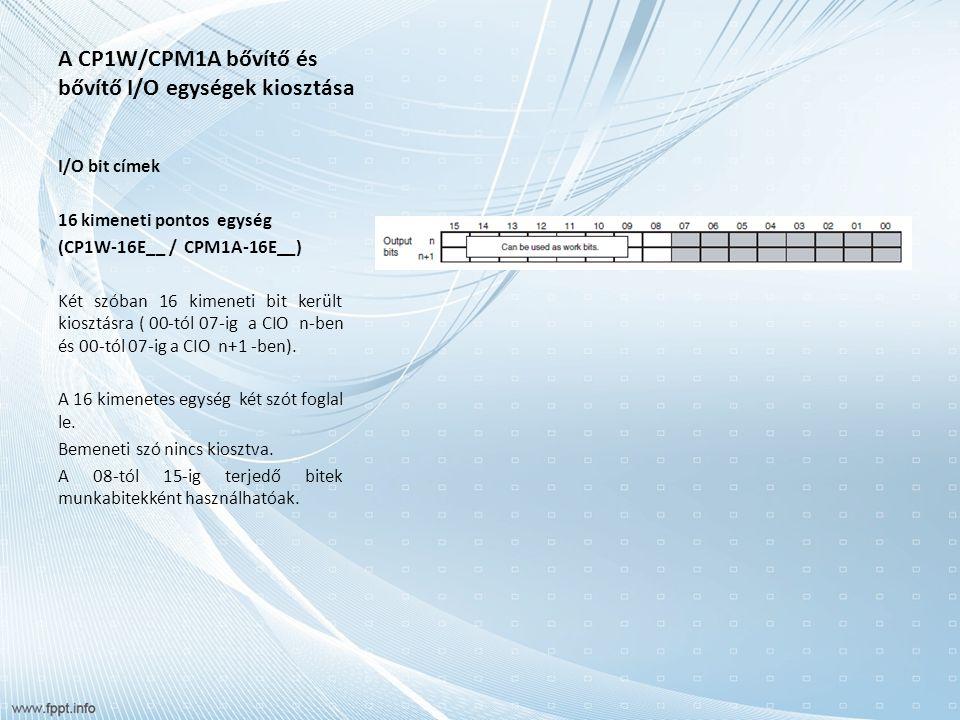 A CP1W/CPM1A bővítő és bővítő I/O egységek kiosztása I/O bit címek 16 kimeneti pontos egység (CP1W-16E__ / CPM1A-16E__) Két szóban 16 kimeneti bit került kiosztásra ( 00-tól 07-ig a CIO n-ben és 00-tól 07-ig a CIO n+1 -ben).