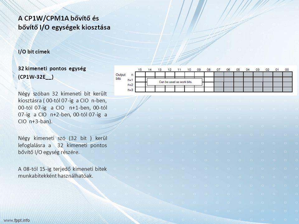 A CP1W/CPM1A bővítő és bővítő I/O egységek kiosztása I/O bit címek 32 kimeneti pontos egység (CP1W-32E__) Négy szóban 32 kimeneti bit került kiosztásra ( 00-tól 07-ig a CIO n-ben, 00-tól 07-ig a CIO n+1-ben, 00-tól 07-ig a CIO n+2-ben, 00-tól 07-ig a CIO n+3-ban).