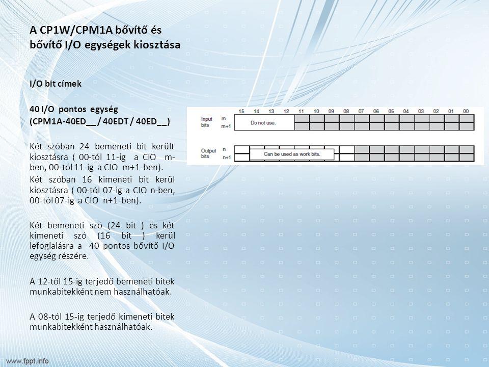 A CP1W/CPM1A bővítő és bővítő I/O egységek kiosztása I/O bit címek 40 I/O pontos egység (CPM1A-40ED__ / 40EDT / 40ED__) Két szóban 24 bemeneti bit került kiosztásra ( 00-tól 11-ig a CIO m- ben, 00-tól 11-ig a CIO m+1-ben).