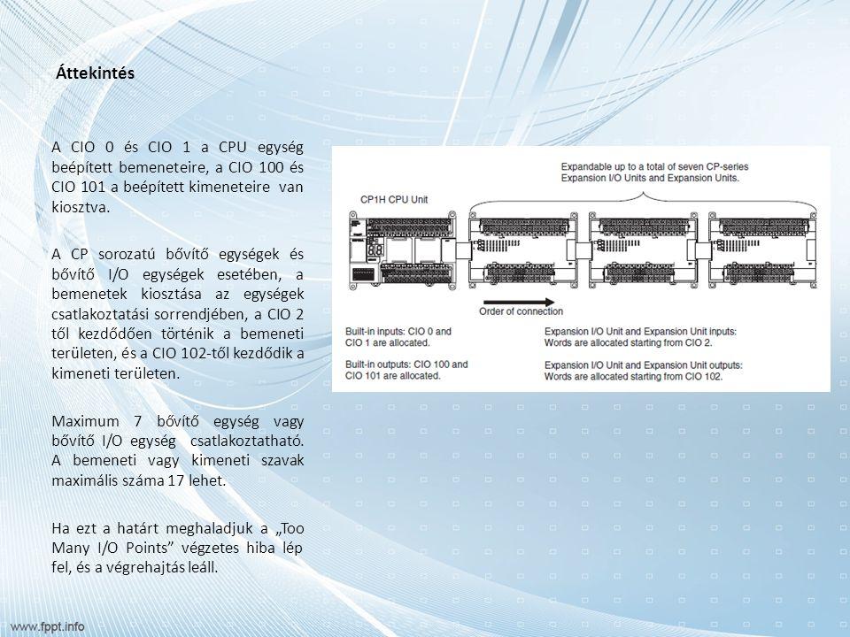 Áttekintés A CIO 0 és CIO 1 a CPU egység beépített bemeneteire, a CIO 100 és CIO 101 a beépített kimeneteire van kiosztva.