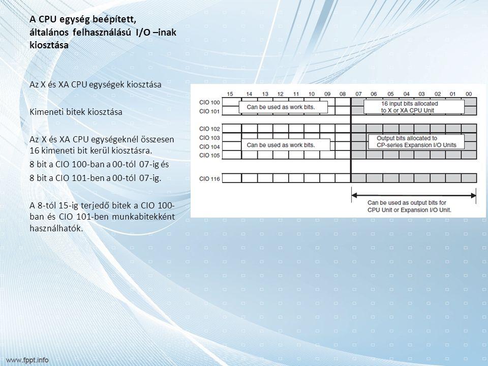 A CPU egység beépített, általános felhasználású I/O –inak kiosztása Az X és XA CPU egységek kiosztása Kimeneti bitek kiosztása Az X és XA CPU egységeknél összesen 16 kimeneti bit kerül kiosztásra.