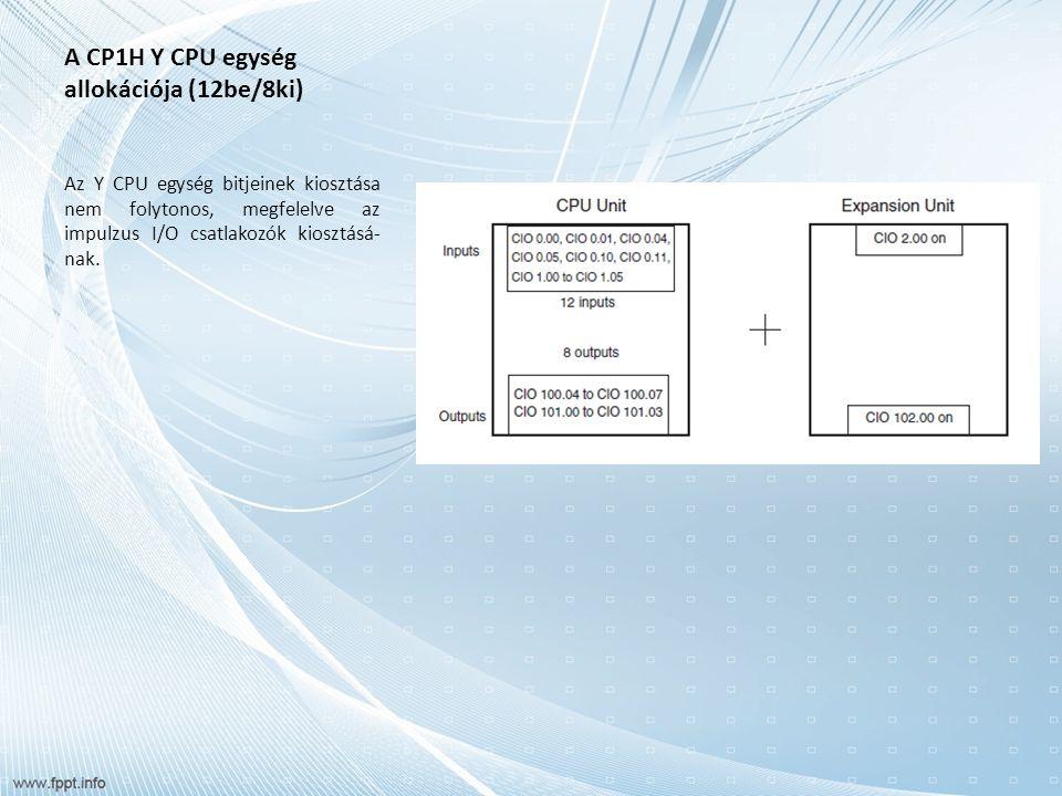 A CP1H Y CPU egység allokációja (12be/8ki) Az Y CPU egységek kiosztása Bemeneti bitek kiosztása Az Y CPU egységeknél összesen 12 bemeneti bit kerül kiosztásra a CIO 0- ban és a CIO 1-ben.