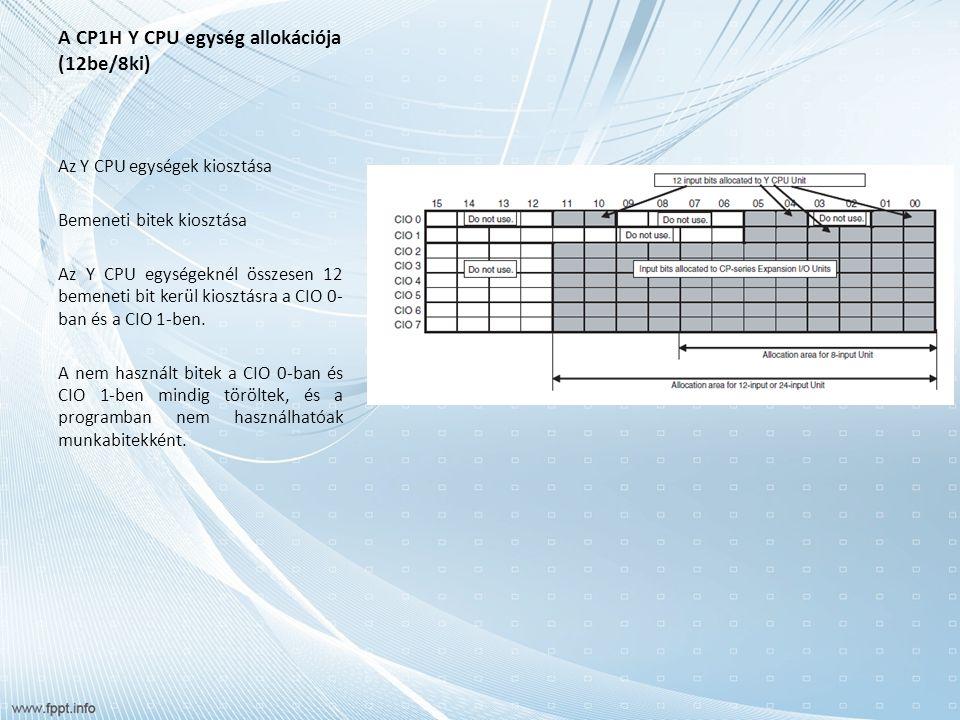 A CP1H Y CPU egység allokációja (12be/8ki) Az Y CPU egységek kiosztása Kimeneti bitek kiosztása Az Y CPU egységeknél összesen 8 kimeneti bit kerül kiosztásra a CIO 100-ban és a CIO 101-ben.