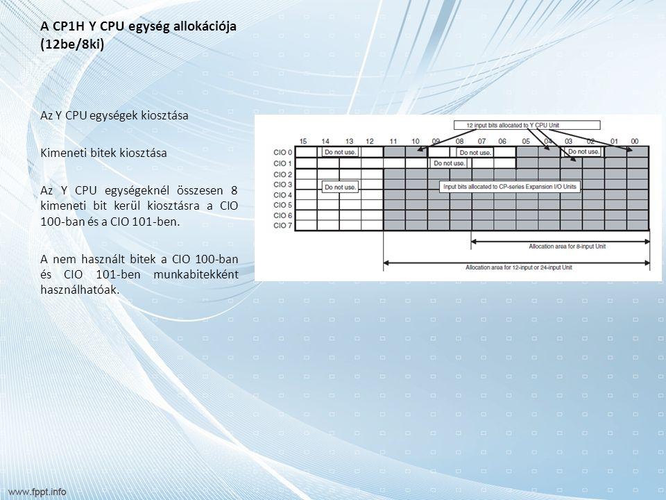 A CP1W/CPM1A bővítő és bővítő I/O egységek kiosztása Bővítő I/O egységek A bővítő I/O begységek bemenetszámot, kimenetszámot vagy be-, és kimenetszámot növelhetnek.