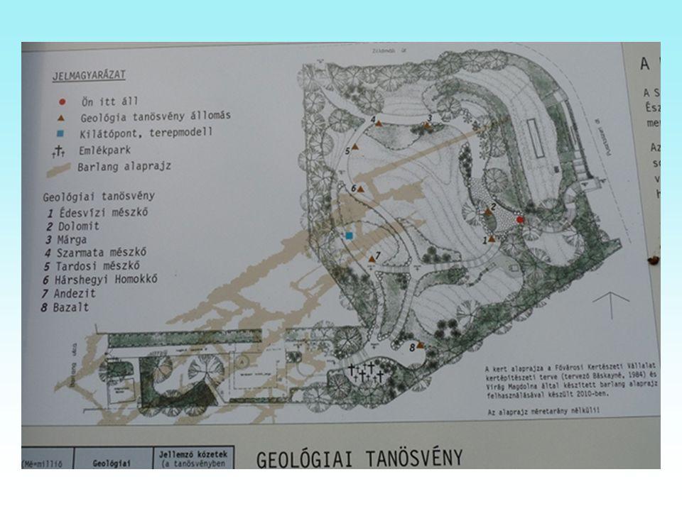 Szemlőhegyi-barlang bejárata melletti lépcsőn a barlang fölött található a Geológiai- tanösvény. A közelben bányászott kőzeteket mutatják be, melyekbő