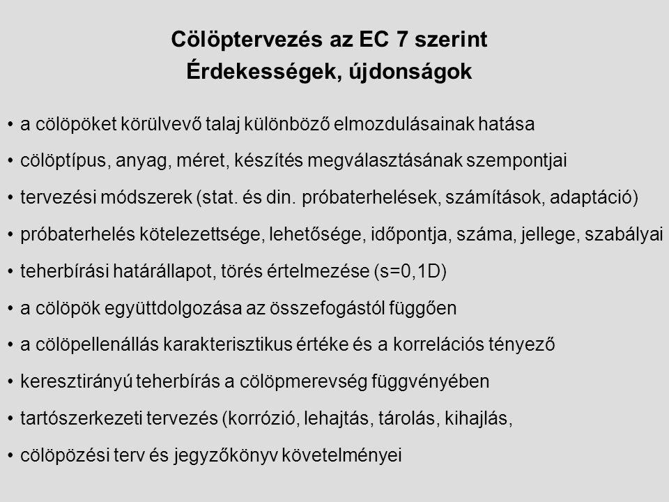 Cölöptervezés az EC 7 szerint Érdekességek, újdonságok a cölöpöket körülvevő talaj különböző elmozdulásainak hatása cölöptípus, anyag, méret, készítés megválasztásának szempontjai tervezési módszerek (stat.