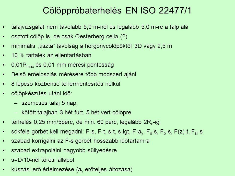 Cölöppróbaterhelés EN ISO 22477/1 talajvizsgálat nem távolabb 5,0 m-nél és legalább 5,0 m-re a talp alá osztott cölöp is, de csak Oesterberg-cella (?)