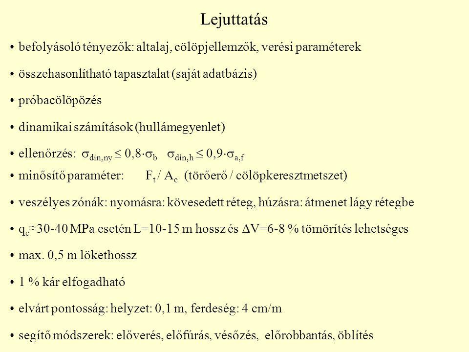 Lejuttatás befolyásoló tényezők: altalaj, cölöpjellemzők, verési paraméterek összehasonlítható tapasztalat (saját adatbázis) próbacölöpözés dinamikai számítások (hullámegyenlet) ellenőrzés:  din,ny  0,8  b   din,h  0,9  a,f minősítő paraméter: F t / A c (törőerő / cölöpkeresztmetszet) veszélyes zónák: nyomásra: kövesedett réteg, húzásra: átmenet lágy rétegbe q c ≈30-40 MPa esetén L=10-15 m hossz és ΔV=6-8 % tömörítés lehetséges max.