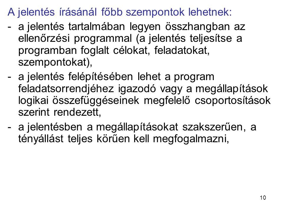 10 A jelentés írásánál főbb szempontok lehetnek: -a jelentés tartalmában legyen összhangban az ellenőrzési programmal (a jelentés teljesítse a program