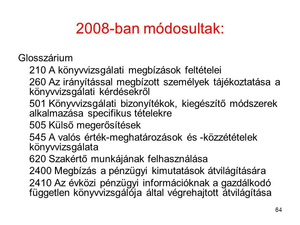 64 2008-ban módosultak: Glosszárium 210 A könyvvizsgálati megbízások feltételei 260 Az irányítással megbízott személyek tájékoztatása a könyvvizsgálat
