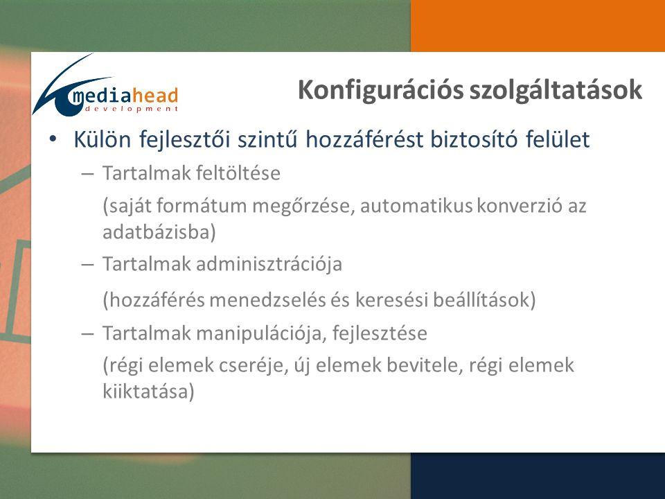 Hozzáférési Szolgáltatások Calderoni webportál – Hozzáférés alapú közösségépítés – Tematikus keresőszolgáltatás – Tartalmak megtekintése, manipulálása – Extra szolgáltatások a tartalmakhoz kapcsolódóan Megosztás (linkelés, leechelés, beágyazás) Letöltés (tartalom hozzáférhető verziója) Kapcsolódó szoftverek letöltése (megjelenítőrendszerek) Linkek (saját disszeminációs lehetőségek felé)
