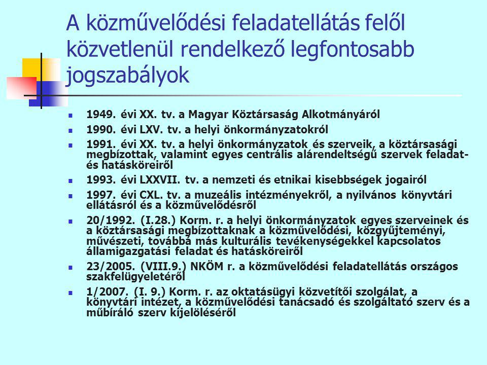 A közművelődési feladatellátás felől közvetlenül rendelkező legfontosabb jogszabályok 1949.