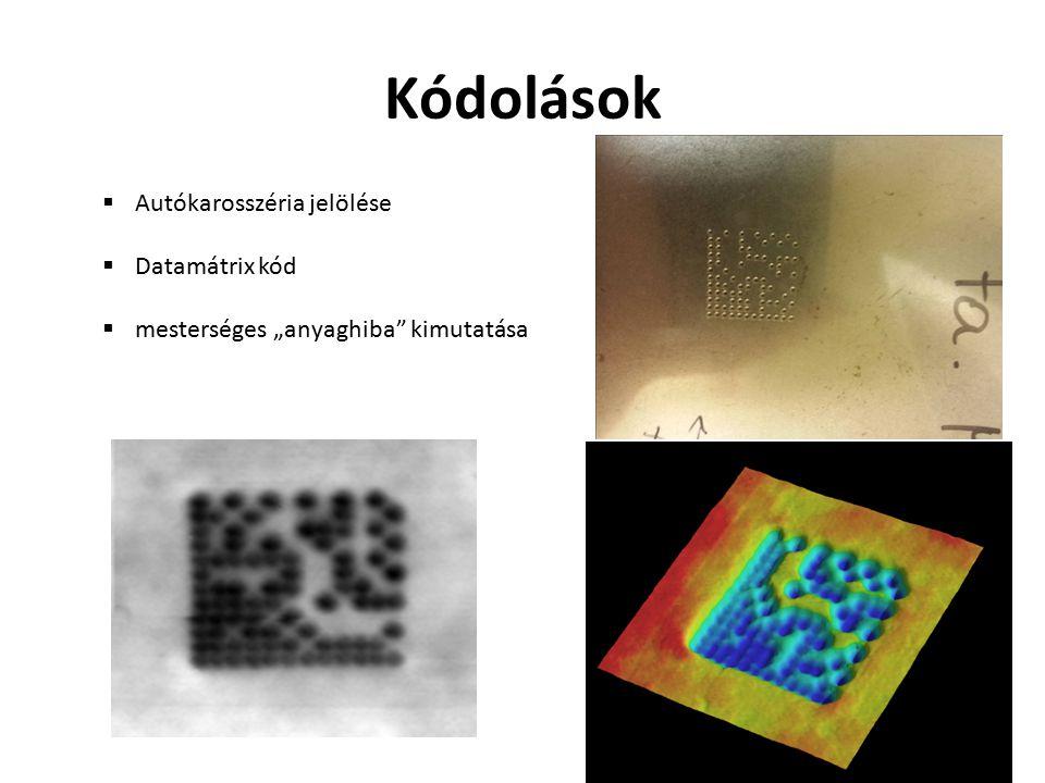 """Kódolások  Autókarosszéria jelölése  Datamátrix kód  mesterséges """"anyaghiba"""" kimutatása"""