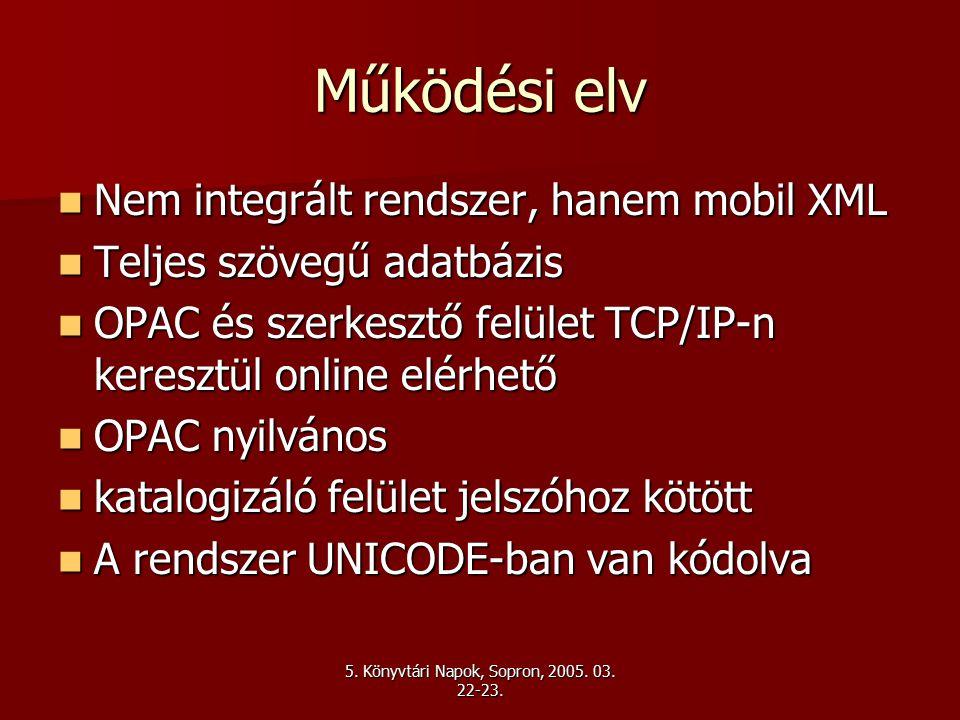 Működési elv Nem integrált rendszer, hanem mobil XML Nem integrált rendszer, hanem mobil XML Teljes szövegű adatbázis Teljes szövegű adatbázis OPAC és szerkesztő felület TCP/IP-n keresztül online elérhető OPAC és szerkesztő felület TCP/IP-n keresztül online elérhető OPAC nyilvános OPAC nyilvános katalogizáló felület jelszóhoz kötött katalogizáló felület jelszóhoz kötött A rendszer UNICODE-ban van kódolva A rendszer UNICODE-ban van kódolva