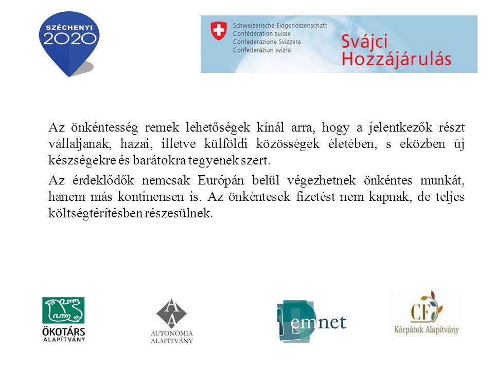 Önkéntes munkalehetőségek Magyarországon: www.afsz.huwww.afsz.hu (Állami Foglalkoztatási Szolgálat) www.szmm.gov.hu (Szociális és Munkaügyi Minisztérium) www.eletpalya.munka.hu Külföldön: www.wwoof.orgwww.wwoof.org (bio-farmokon gazdálkodó farmereket köti össze az önkénteskedni vágyó fiatalokkal www.yap.itwww.yap.it (ha tudsz olaszul és Itáliában szeretnél önkéntskedni)