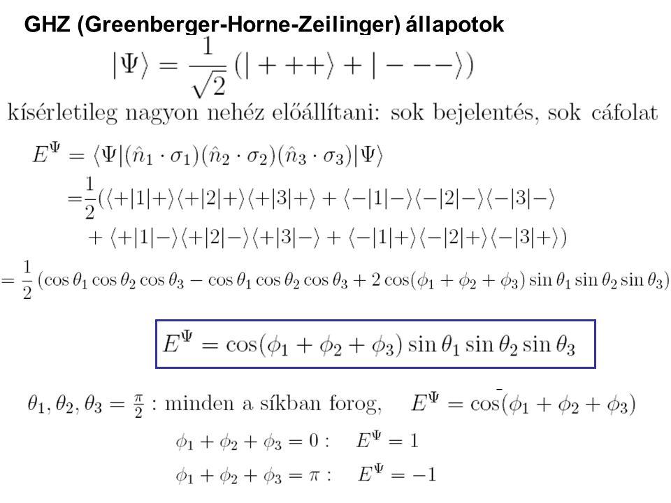 GHZ (Greenberger-Horne-Zeilinger) állapotok