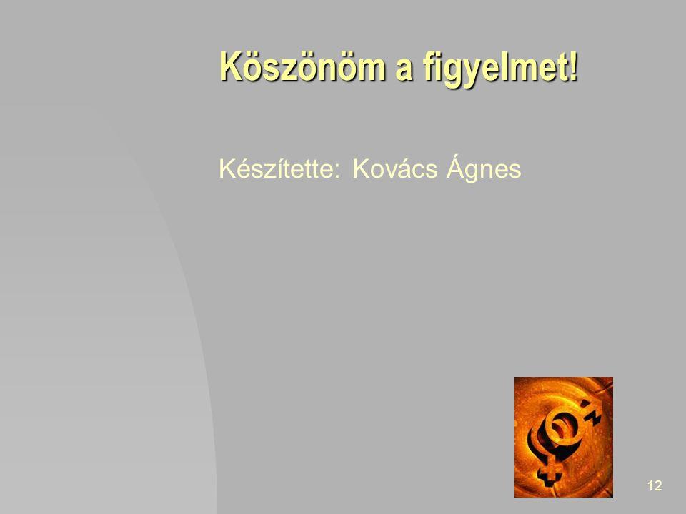 12 Köszönöm a figyelmet! Készítette: Kovács Ágnes