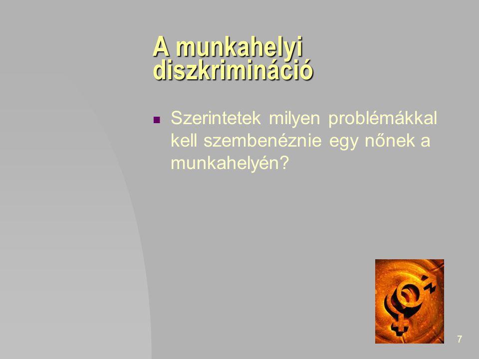 7 A munkahelyi diszkrimináció Szerintetek milyen problémákkal kell szembenéznie egy nőnek a munkahelyén?