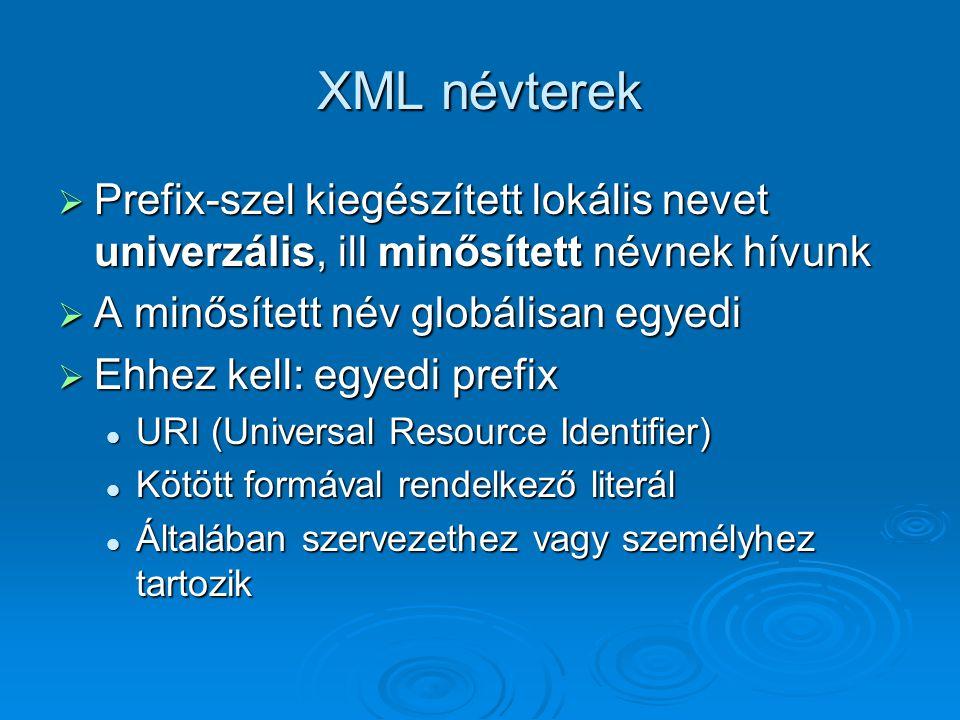 XML névterek  Prefix-szel kiegészített lokális nevet univerzális, ill minősített névnek hívunk  A minősített név globálisan egyedi  Ehhez kell: egyedi prefix URI (Universal Resource Identifier) URI (Universal Resource Identifier) Kötött formával rendelkező literál Kötött formával rendelkező literál Általában szervezethez vagy személyhez tartozik Általában szervezethez vagy személyhez tartozik