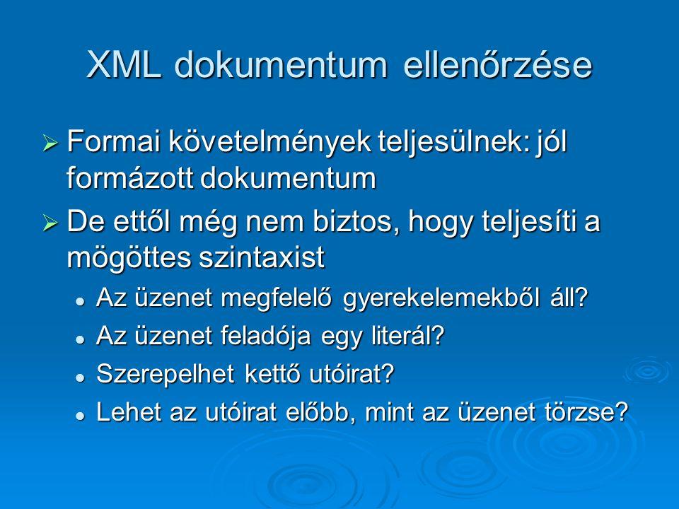XML dokumentum ellenőrzése  Formai követelmények teljesülnek: jól formázott dokumentum  De ettől még nem biztos, hogy teljesíti a mögöttes szintaxist Az üzenet megfelelő gyerekelemekből áll.