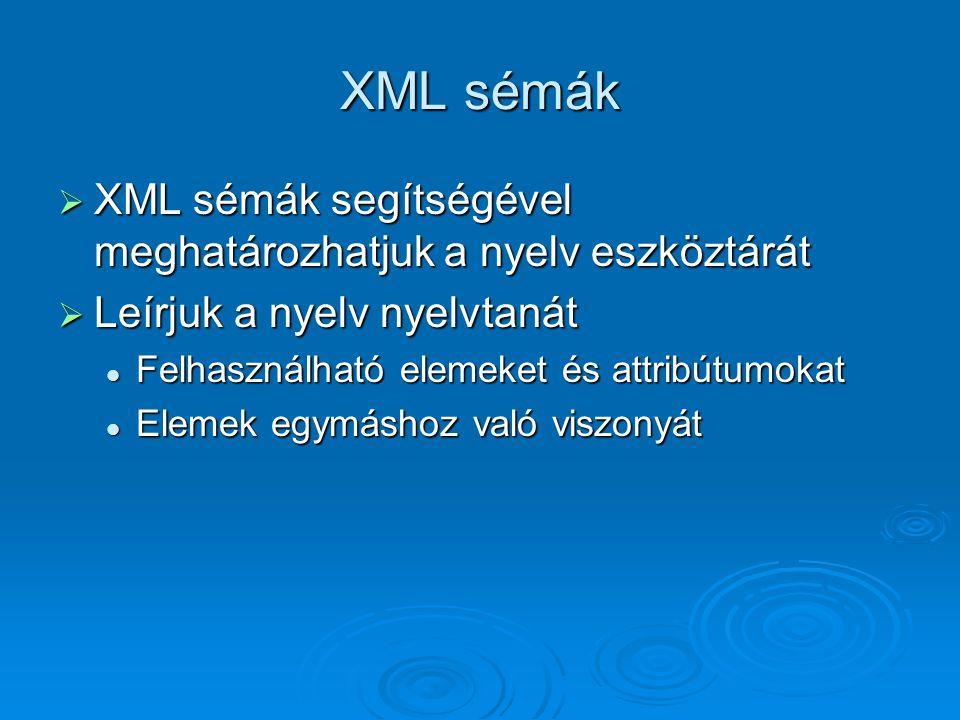 XML sémák  XML sémák segítségével meghatározhatjuk a nyelv eszköztárát  Leírjuk a nyelv nyelvtanát Felhasználható elemeket és attribútumokat Felhasználható elemeket és attribútumokat Elemek egymáshoz való viszonyát Elemek egymáshoz való viszonyát