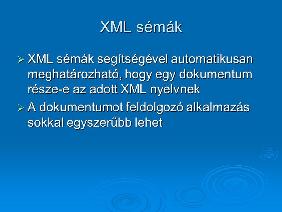 XML sémák  XML sémák segítségével automatikusan meghatározható, hogy egy dokumentum része-e az adott XML nyelvnek  A dokumentumot feldolgozó alkalmazás sokkal egyszerűbb lehet