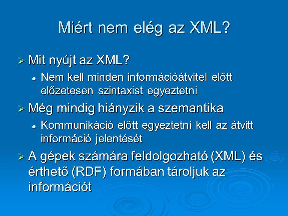 Miért nem elég az XML.  Mit nyújt az XML.