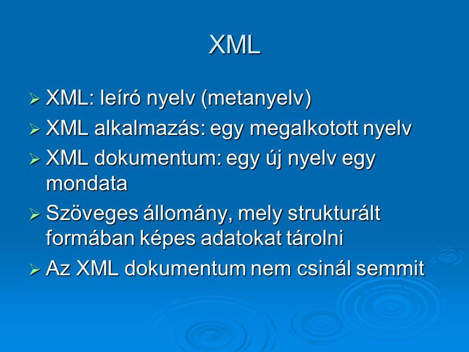 XML  XML: leíró nyelv (metanyelv)  XML alkalmazás: egy megalkotott nyelv  XML dokumentum: egy új nyelv egy mondata  Szöveges állomány, mely strukturált formában képes adatokat tárolni  Az XML dokumentum nem csinál semmit