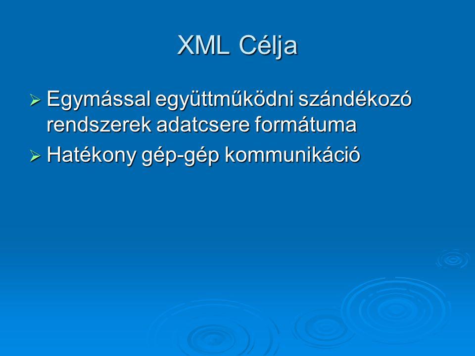 XML Célja  Egymással együttműködni szándékozó rendszerek adatcsere formátuma  Hatékony gép-gép kommunikáció
