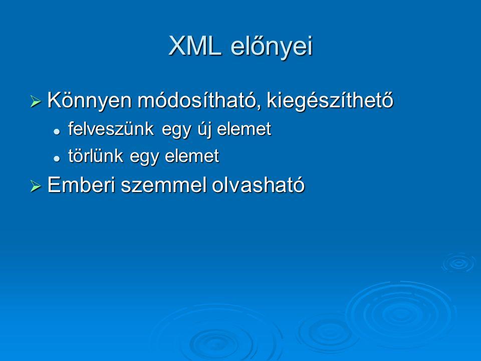 XML előnyei  Könnyen módosítható, kiegészíthető felveszünk egy új elemet felveszünk egy új elemet törlünk egy elemet törlünk egy elemet  Emberi szemmel olvasható