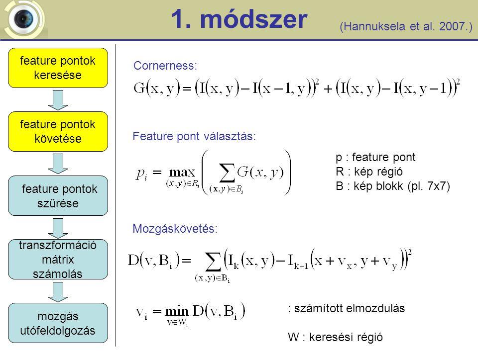 1. módszer feature pontok követése feature pontok szűrése transzformáció mátrix számolás mozgás utófeldolgozás feature pontok keresése Mozgáskövetés: