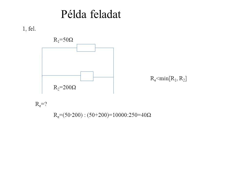 Példa feladat R 1 =50Ω R 2 =200Ω R e =.