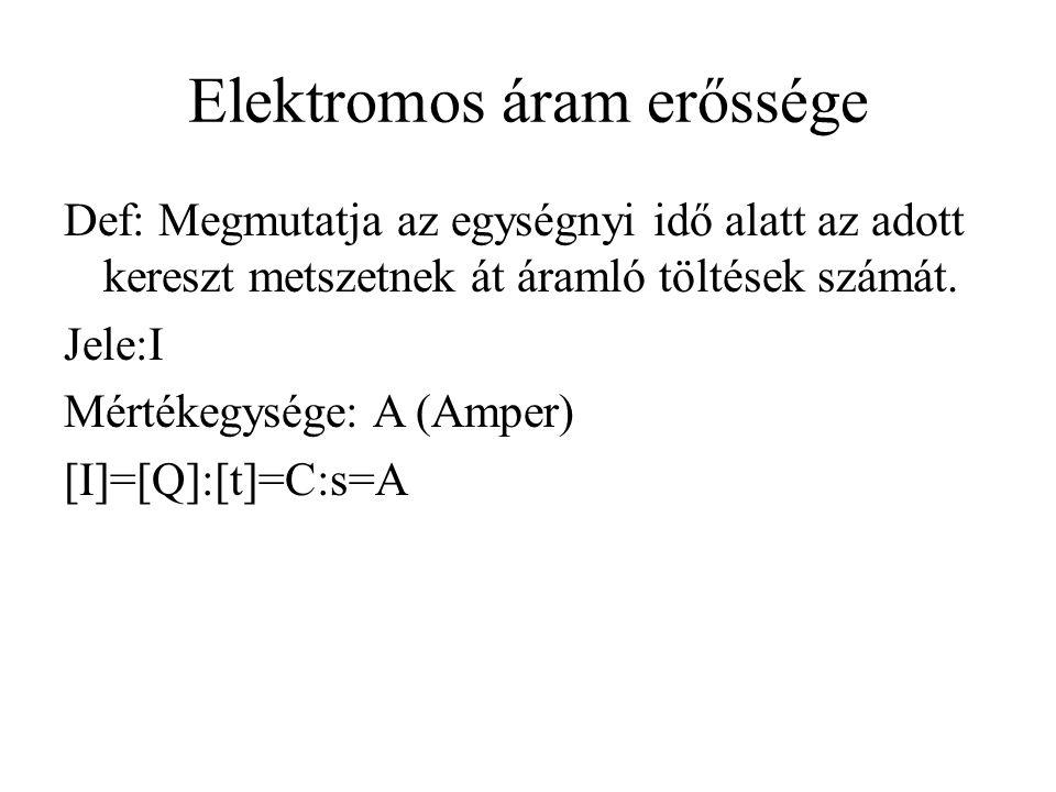 Elektromos áram erőssége Def: Megmutatja az egységnyi idő alatt az adott kereszt metszetnek át áramló töltések számát.