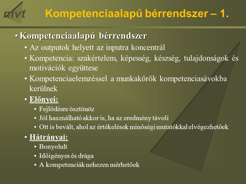 mvt Kompetenciaalapú bérrendszer – 1. Kompetenciaalapú bérrendszerKompetenciaalapú bérrendszer Az outputok helyett az inputra koncentrál Kompetencia: