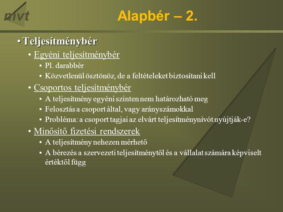 mvtHagyományos bérrendszerek – 1.